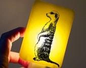 Meerkat Nightlight of Fused Glass in Lemon Yellow - Happy Owl Glassworks - night light for kids, children and babies for nursery