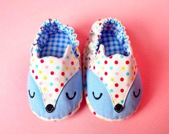 Blue Baby Shoes, Fox Baby Shoes, Prewalker Booties, Prewalker Shoes, Elastic Baby Booties, The Fantastic Fox 08