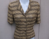 Vintage 40s Ribbon Knit Jacket Blouse by Blum's of Chicago / Size Sml