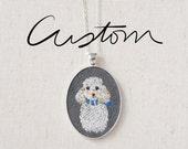 Custom Pet Portrait - Large Oval - Dog - Cat - Keepsake Pendant Necklace - Embroidered - One of a kind - Poodle - Yorkshire Terrier