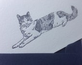 Letterpress gray cat card