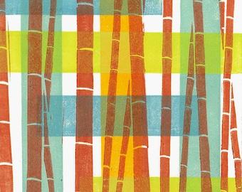 "LINOCUT  PRINT - Bamboo Pattern 9 - Modern Abstract Print 6""x6"" - Ready to Ship"