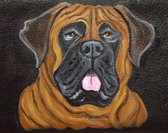 Bullmastiff Mastiff Dog Custom Painted Leather Women's Wallet