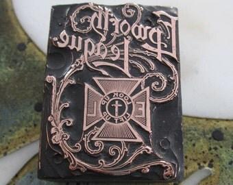 Vintage Letterpress Printers Block Methodist Epworth League