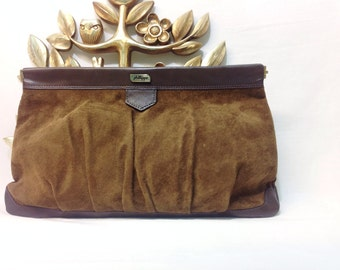 Phillippe Brown Suede Leather Clutch | Vintage 1980s Handbag