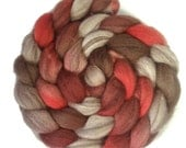 Handpainted Heathered BFL Wool Roving - 4 oz. CHERRY COLA - Spinning Fiber