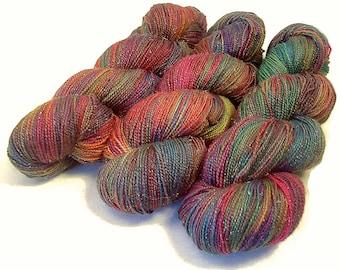 Handpainted Sparkle Fingering Yarn - Star Dust - 100 gm ARCADE - Merino Wool Nylon Stellina Sock Yarn - Lot #151124