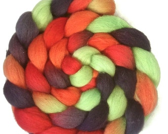 Handpainted BFL Wool Roving - 4 oz. DRAGON SCALES - Spinning Fiber