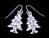Sparkling White Crystal Christmas Tree Holiday Earrings