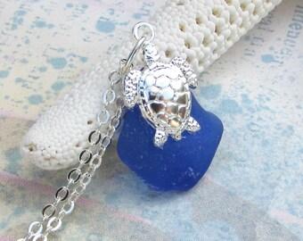 Beach Glass Turtle Necklace Gorgeous Cobalt Blue Sea Glass