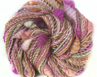 Art Yarn handspun handdyed Merino wool silk with coils