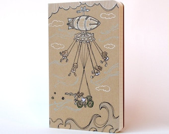 Flying Machine Moleskine Cahier . Large Notebook . Plain
