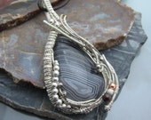 Fortified Agate Wire Wrapped Pendant in Sterling Silver