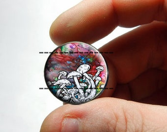 25mm 20mm 16mm 12mm 10mm or 8mm Glass Cabochon - Trippy Rainbow Mushrooms 2 - for Jewelry and Pendant Making
