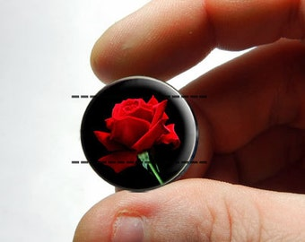 25mm 20mm 16mm 12mm 10mm or 8mm Glass Cabochon - Red Rose - for Jewelry and Pendant Making
