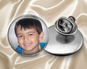 Custom Photo Tie Tack or Lapel Pin -  Personalized for Dad or Wedding -  Men's Keepsake - Father's Day Gift