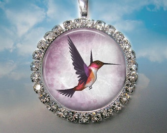 Purple Hummingbird in Rhinestones - 1 Inch Clear Rhinestone Bezel Pendant Necklace