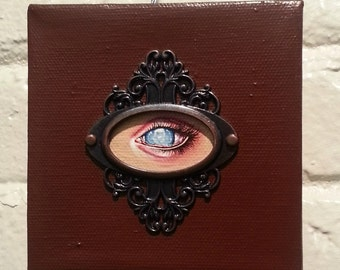Blind Eye-New Contemporary Gothic Original Acrylic Painting 4x4-By Alexandria Sandlin Cherrybones