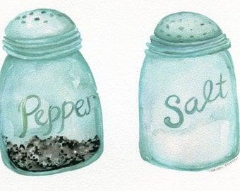 Watercolor print, kitchen print, Salt and Pepper Aqua Blue Canning Jars  5 x 7 Culinary, kitchen decor prints, mason jar salt, pepper shaker