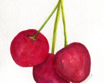 Cherries watercolors paintings original, Small Fruit Painting, Food Kitchen Wall Art 5 x 7 cherries artwork Watercolor Painting