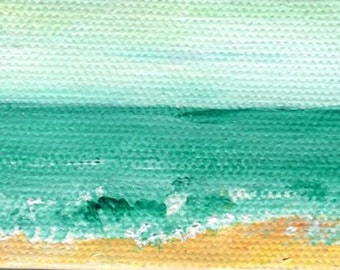 Seascape, Waves, Beach Acrylic Mini Painting on canvas Original Ocean Art,  original sea painting