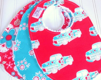 SALE - Baby Bibs for Girl, Set of 3 Chenille Bibs,  Aqua & Red,  Vintage Trucks, Blue Sugar Floral, Red Paisley Floral, SUGAR and SPICE