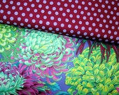 Japanese Chrysanthemum Green, Spot PLUM, polka dot 1 Yard Phillip Jacobs, Kaffe Fassett Westminster Fabric Cotton Fabric