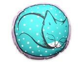 Cat cushion - throw pillow - curled up blue polka dot cat plush homewares housewares retro cute kawaii