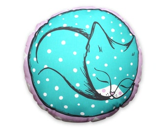 Cat cushion - throw pillow - curled up blue polka dot cat plush homewares housewares retro cute kawaii