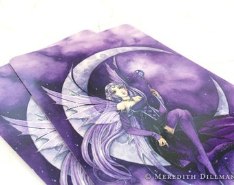 Gothic Anime Fairy Postcard - Moon Fairy, Crescent moon, Post Card, fantasy print, purple, Meredith Dillman