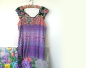 Hot House Flower Top, Purple, Black, Floral, Neon, Stretch Top, Criss Cross Back, Tropical, Boho Tank, Recycled
