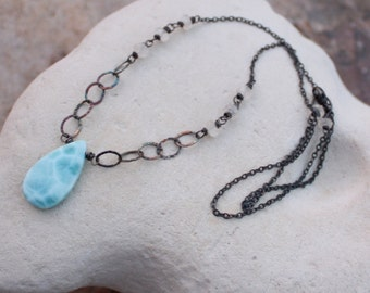 LARIMAR necklace with Ceylon MOONSTONE accents, sterling silver, handmade, blue gemstone, angry hair jewelry