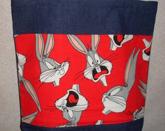 New Large Denim Tote Bag Handmade with Bugs Bunny Fabric