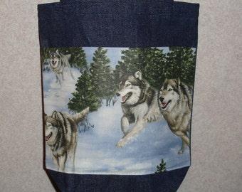 New Small Handmade Wolf Snow Wildlife Denim Tote Bag Purse