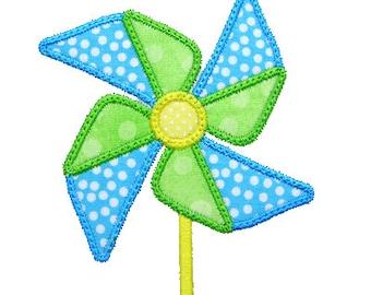 Pinwheel Applique, Pinwheel Embroidery, Summer Applique, Beach Applique, Machine Embroidery Design, Instant Download