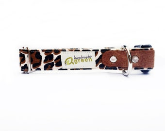 Leopard. Handmade Green Hemp Dog Collar. Adjustable. Small Medium Large.