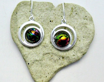Fused Glass Silver French Wire Earrings / Small Colorful Dichroic