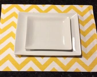 Custom Placemats | Chevron Zig Zag Corn Yellow | Table Linens