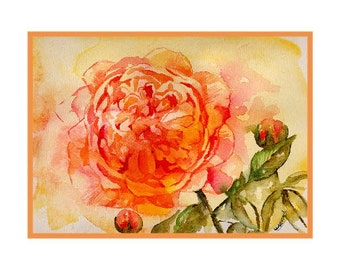 Watercolor English Rose Flower Notecards Note cards, Rose Prints, Rose Stationery, Gift Box, Roses, Rose Greeting Cards