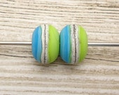 Turquoise Lime Pair of Etched Artisan Handmade Lampwork Beads SRA