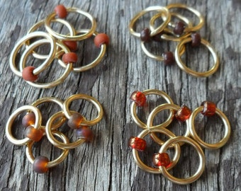 Dangle Free Knitting Stitch Markers Brown Mix Brass Wire Four Different Sizes Twenty Markers