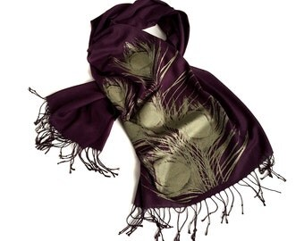 Peacock Feather pashmina scarf. Linen weave wrap. Antique brass silkscreen print on eggplant purple & more. Perfect wedding evening wrap.