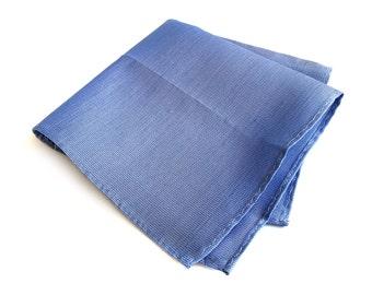"Blue linen pocket square. Medium blue, rustic woven silk & linen blend, mens pocket square. Lake ""Huron"" perfect groomsmen gift."