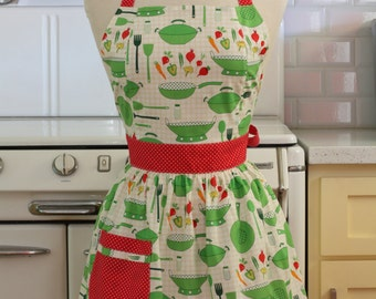 Retro Apron Green Pots and Pans on White CHLOE