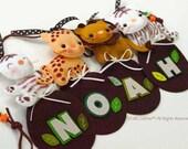 SAFARI ZOO Fun Animal Parade Name Banner, Safari Jungle Theme, Hanging Felt Wall Art Banner for Baby Nursery, Creative Kids Room Decor