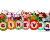 Custom Personalized NAME BANNER with Storybook Fun Animals - Unique Wall Art, Room Decor, Custom Name Banner for Kids room or Baby Nursery