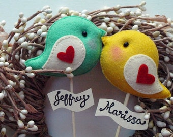 Love Birds, Personalized Wedding Cake Topper, Valentine's Day Gift, Party Decor, Wedding Photo Prop, Wedding Reception Decor for Bride Groom