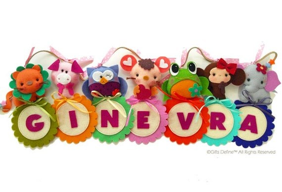 Custom Personalized Samantha BANNER with Farm Animals - Unique Wall Art, Room Decor, Custom Name Banner for Kids room or Baby Nursery