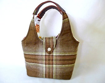 Classic Brown Plaid Wool Handbag with Cowhide Leather Handles