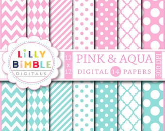80% off Pink and Aqua digital papers for cards, birthdays, scrapbook paper, chevron, polka dots, Instant Download Commercial Use